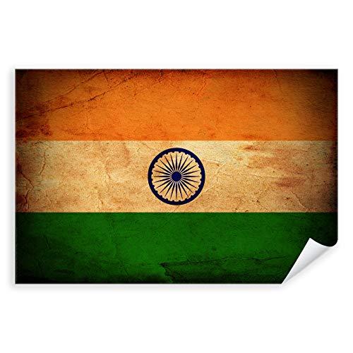 Postereck - 0302 - Vintage Flagge, Fahne Indien Neu-Delhi - Unterricht Klassenzimmer Schule Wandposter Fotoposter Bilder Wandbild Wandbilder - Poster mit Rahmen - 29,0 cm x 19,0 cm