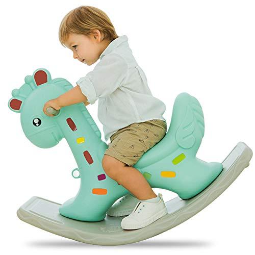 ZHKXBG Baby Schaukelpferd, Kind Cartoon Giraffe Schaukelpferd, Kinder Rocker, Kindergartenfahrt auf Tierspielzeug,Grün