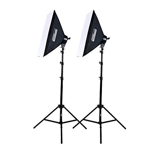 Fovitec – Softbox-Set Zur Dauerbeleuchtung Für Die Fotografie (2000W) Mit Softboxen (51 cm x 71 cm), 10 Leuchtmittel (45 W, 5500 K E27), Verstellbare Stative (2,3 m) Für Videoaufnahmen