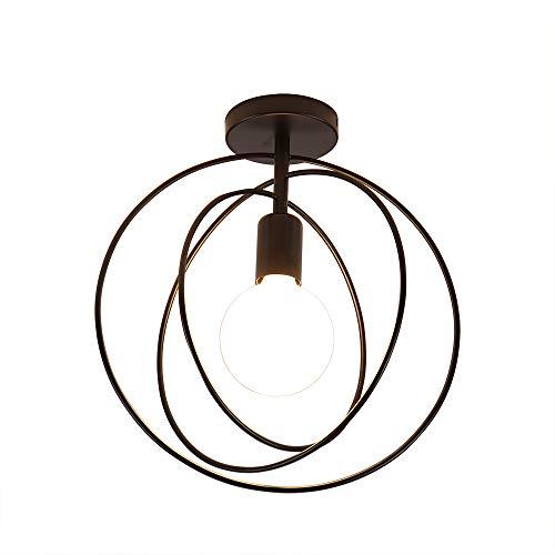 Artpad Vintage Loft Lámpara de techo Led Jaula de hierro negro Lámpara giratoria de techo giratoria de 360 ° Lámpara de metal nórdico Luz para cocina Dormitorio Balcón Barra de pasillo E27