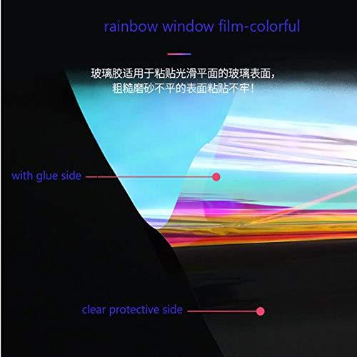 aifengxiandonglingbaihuo 1,37x6m Regenbogenfensterfolie Dichroic Selbstklebende dichroitisch schillernde Vinylfolie Haustier dekorative Folie Cosplay DIY, HR012