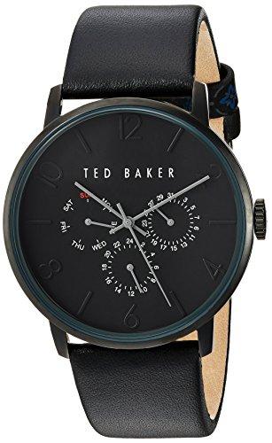 Ted Baker Orologio da uomo in pelle nera con cronografo TE10030763