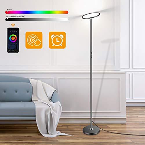 Stehlampe RGB, Oeegoo LED Deckenfluter 25W, Wifi Stehleuchte Dimmbar, Alexa Google Home Kompatibel, Touch Control, Farbtemperaturen und Helligkeit Einstellbar, für Wohnzimmer Schlafzimmer Büro