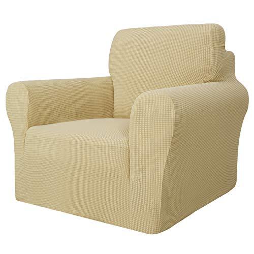 MAXIJIN Super Stretch Stuhlbezüge für Wohnzimmer, 1-teiliger Universal Stuhlbezug mit Armlehnen Jacquard Spandex Stuhlschutz Hunde Haustierfreundliche Sofa Couch Sesselbezug (1 Sitzer, Beige)
