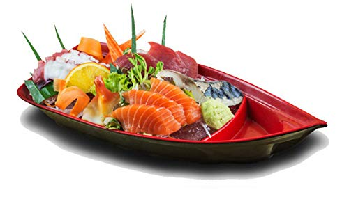 "Pack Of 4 Japanese Omakase Style 10/""L Red Melamine Sushi Boat Serving Plates"