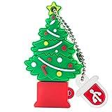 BorlterClamp Memoria USB de 32 GB, Lindo Unidad Flash USB Patrón de árbol de Navidad USB Memory Stick, Regalo para Estudiantes y Niños