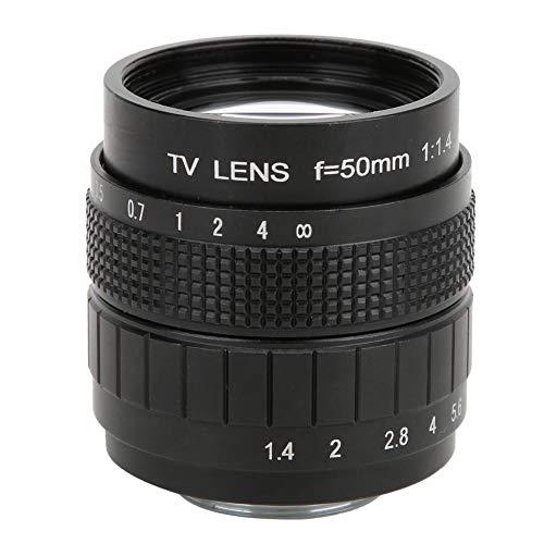 DAUERHAFT Lente de Montaje C de 50 mm F1.4 Lente de Gran Apertura Conductividad de luz efectiva Claridad Total, para Olympus M4 / 3, para Canon, para Fuji, para Sony Mirrorless Camera(Black)