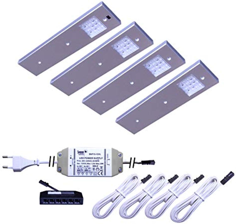 LED Unterbauleuchte Angelo 2er-5er Set Küchen- und Vitrinenleuchte Vitrinenlampe mit Bewegungssensor neutralwei Anbauleuchte Anbaulampe Beleuchtung Küchenleuchte Küchenlampe Unterbaulampe Unterbau (4er Set)