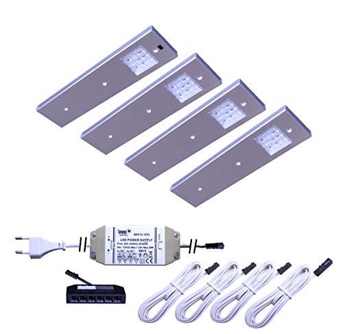 LED Unterbauleuchte Angelo 2er-5er Set Küchen- und Vitrinenleuchte Vitrinenlampe mit Bewegungssensor neutralweiß Anbauleuchte Anbaulampe Beleuchtung Küchenleuchte Küchenlampe Unterbaulampe Unterbau (4er Set)