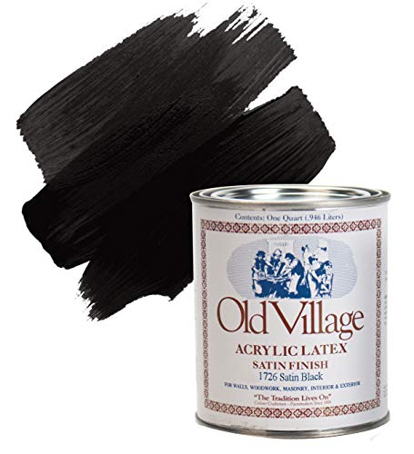 Old Village Satin Black Water-Based Paint Exterior and Interior 1 qt.