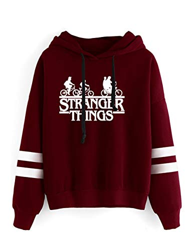 Pull Stranger Things Ado Fille, Sweat Stranger Things Femme Ado Fille Sport Rayure Base-Ball Sweat-Shirt A Capuche Autumn Sweat Shirt Hoodie Sweatshirt Fan De Stranger Things (3red,S)