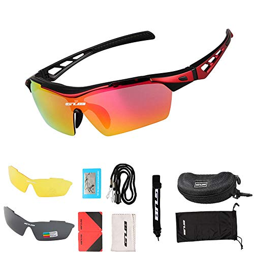 Gafas de ciclismo Montura Gafas de sol deportivas polarizadas,Gafas de bicicleta para hombres Mujeres,Anti-UV400 con 3 lentes intercambiables para conducir Guante de pesca Béisbol Correr Senderismo