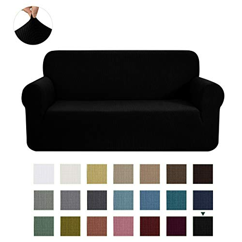 CHUN YI Stretch Loveseat Sofa Slipcover 1-Piece Couch Cover Furniture Protector, 2 Seater Coat Soft with Elastic Bottom, Checks Spandex Jacquard Fabric, Medium, Black