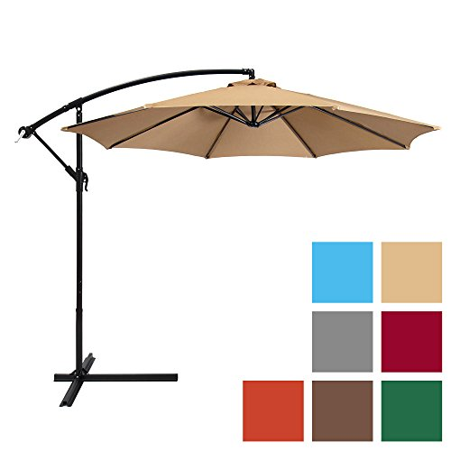 Best Choice Products 10-Foot Offset Hanging Aluminum Polyester Market Patio Umbrella w/ 8 Ribs and Easy Tilt Adjustment, Beige