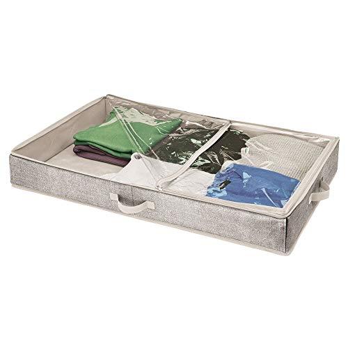 mDesign Cajón para Debajo de la Cama – Cajas bajo Cama con Cubierta Transparente para Ropa o sábanas – Organizador de Ropa para Guardar bajo la Cama y Proteger del Polvo – Gris Oscuro/Transparente