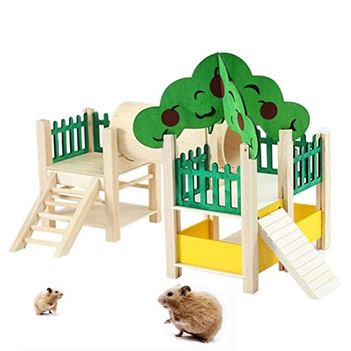 BSTQC Juguete para hámster, juguete de actividad de animales pequeños, de madera, para hámster, perca, escalera, ejercicio de gimnasia, con alimentador, accesorio para jaula
