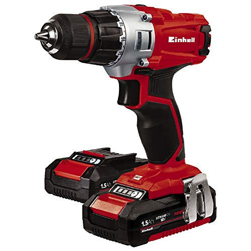 EINHELL TE-CD Power X-Change 18-Volt Cordless 2-Speed 1250 RPM MAX, 20+1 Torque Setting Workshop Drill/Driver, w/Case, Belt Clip, Keyless Chuck, Built-in LED, Kit (w/ 2x1.5-Ah Battery + Fast Charger)