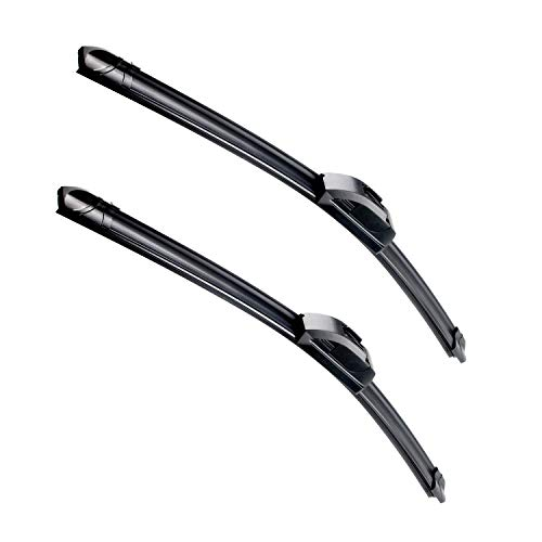 OEM Quality 22''+21'' Premium All-Season Auto Windshield Natural Rubber J-Hook Wiper Blades(Pack of 2)