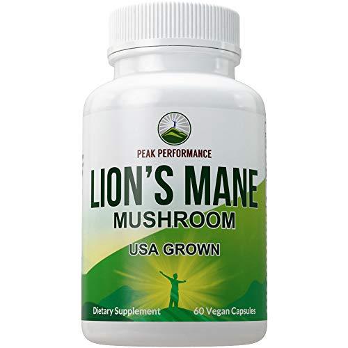 Lions Mane Mushroom Capsules - USA Grown + Vegan Lions Mane Nootropic Supplement for Memory, Focus, Brain Health, and Immune Support. Lion Mane Mushrooms Extract 60 Pills