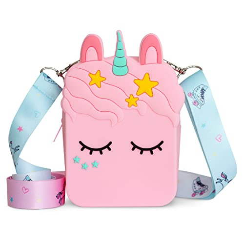 vammy Bolso unicornio para niña. Tamaño 13 x 5 x 10 cm. Regalo unicornios para niñas. Correa de hombro ajustable y desmontable.