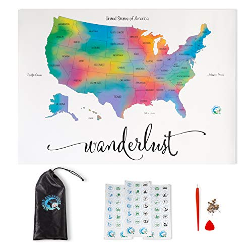 Scratch Off Map of The United States | Deluxe Watercolor Wanderlust Edition | Large Size 17'x 24' | Easy to Frame | Beautiful Wall Art | Perfect Travel Gift | Includes Scratch Off Tools