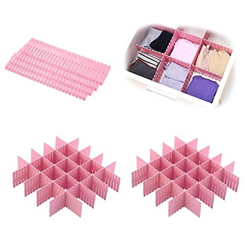 LEcylankEr Separadores Cajones,16 piezas Organizador Cajones 38cm*7cm (15in * 2.7in), Ajustable Para Calcetines Organizador de Armario de Ropa Interior Escritorio de Bricolaje (Rosa)