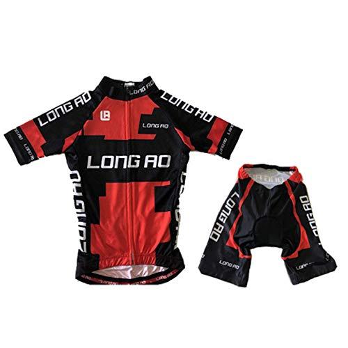 LONG AO Children Cycling Jersey Short Sleeve (red, 8XS)