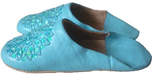 Marokkanische Babouche Hausschuhe, Fair Trade, Leder, 11 Farben, Blau - himmelblau - Größe: 37 EU