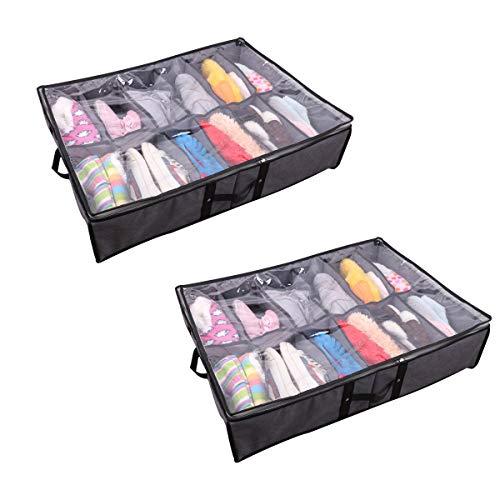 Bajo almacenamiento de zapatos de almacenamiento de lecho con divisores ajustables - Conjunto de 2 asas reforzadas Stronge cremallera polvo y humedad de almacenamiento de dormitorio