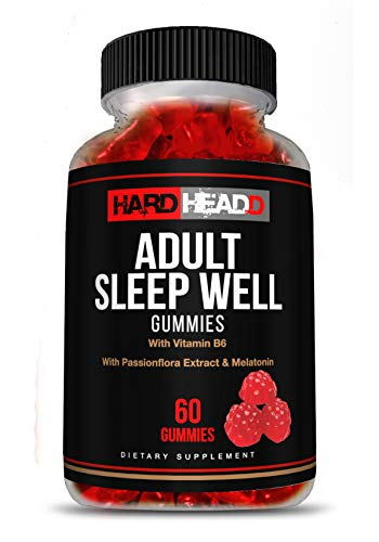 HARD HEADD Adult Sleep Well Gummies with Vitamin B6 with Passionflora Extract & Melatonin All Natural Made in USA