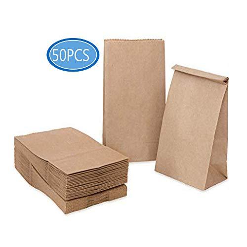 Papiertüten,Geschenktüten,Butterbrottüten, Mini Geschenktüten Braune Papiertüten Tütchen Papier-Beutel Kraftpapier Tüten, Ideal für Geschenk-verpackung Brote Keks