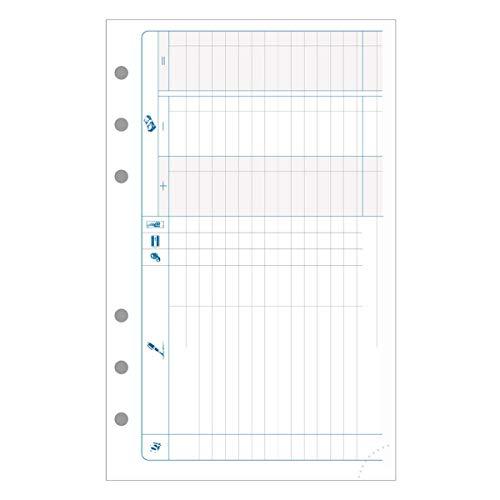 Exacompta - 18214E - Accessoire de recharge perforée - Feuilles pour noter les Recettes / les Dépenses - pour Organiseur Exatime 17 - Pack de 47 Feuillets - Papier Blanc
