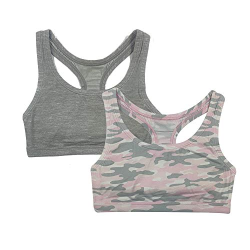 Popular Girl's Print and Solid Racerback Sports Bra - 2 Pack - Pink Camo - XL