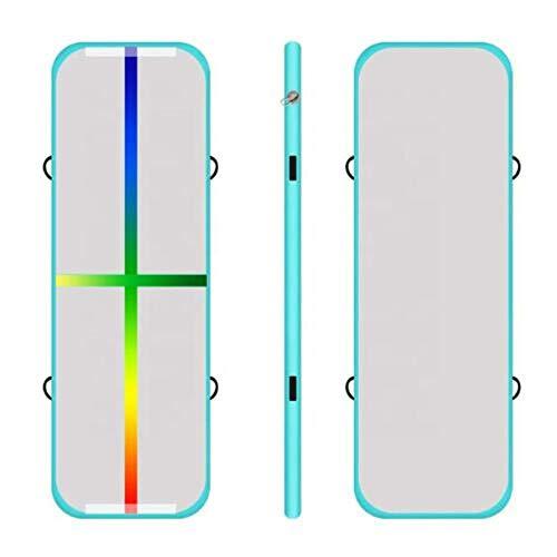 Pista De Aire Inflable Yoga Mat Gimnasia Air Track Air Block Y Air Board Inflatable Tumble Track Asistente para Entrenamiento De Gimnasia, Línea De Color Verde Menta, 1X0.6X0.2M