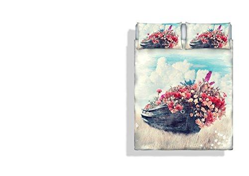 Italian Bed Linen Sogni D' Autore Parure Letto con stampa in digital a copertura totale sul lenzuolo e su federe, 100% Cotone, Sd17, Matrimoniale, 255 X 300 X 1 Cm, 3 unità