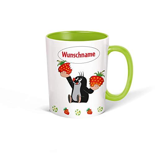 Trötsch Tasse Der kleine Maulwurf mit Wunschname personalisierbar, Namenstasse, Teetasse, Kaffeebecher, Geschenkidee zum Geburtstag, Kindertag oder Schulanfang für jung und alt … (Grün Erdbeere)