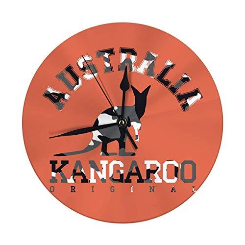 Oh Sweety Wanduhr Keine Ticking 9.8'Zoll Camouflage Kleidung Känguru Silhouette Australien Känguru Original Digitale runde Uhr