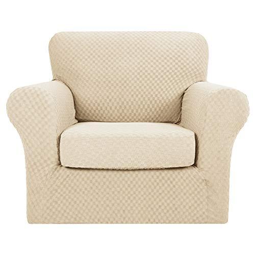 MAXIJIN 2 Fundas para sillas de Jacquard más Nuevas con Brazos, Fundas Antideslizantes elásticas para sillas para Sala de Estar, Perros, Funda elástica para sofá (1 plazas, Beige Claro)