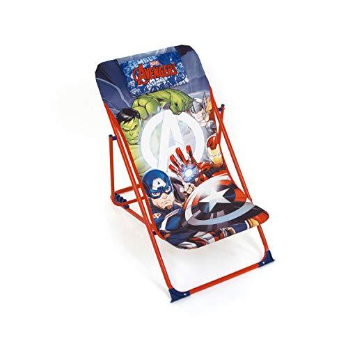 ARDITEX Fauteuil de Jardin/Plage réglable et Pliable pour Enfant sous Licence Avengers en métal et Tissu Dimensions: 43x66x61cm, 61 x 43 x 66 cm