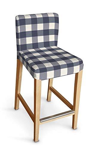Dekoria Henriksdal Husse für Barhocker Husse Stuhlbezug,Stuhlkissen passend für IKEA Modell Henriksdal Weiss-dunkelblau kariert