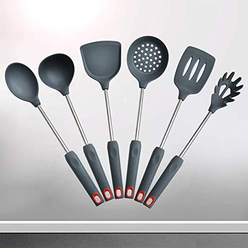 Juego de utensilios de cocina de silicona, utensilios de cocina, pala de cocina de silicona, cuchara, cucharón de sopa, juego de utensilios de cocina de silicona de 6 piezas