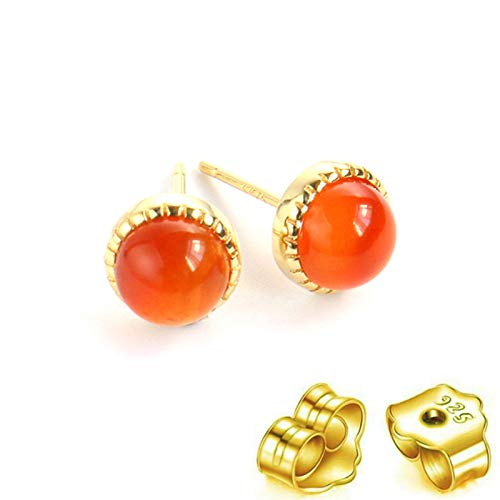 HUYV Stud Earrings For Woman,Fashion Natural Round Red Agate Stone Golden Earrings 925 Silver Stud Earrings For Christmas Birthday Jewelry Gift Men Girls