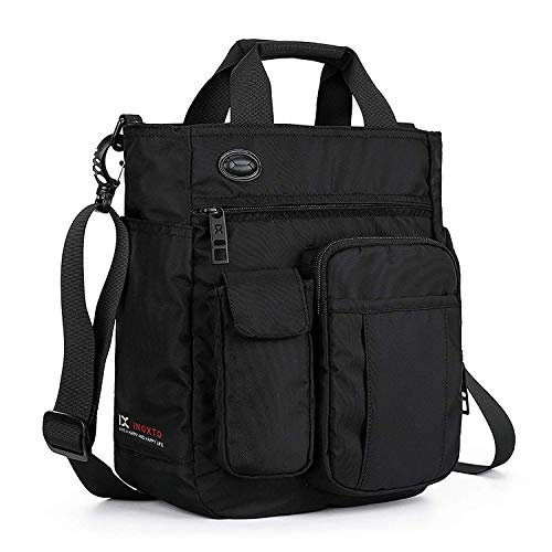 AlwaySky Nylon Crossbody Messenger Bag, Multifunctional Shoulder Bag, Laptop Bag for Men and Women Sport Travel Business (Black)