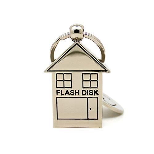 USB-Stick Flash Drive Speicherstick USB-Flash-Laufwerk Memory Stick Thumb Pen Schnelle Geschwindigkeit USB2.0 Falten Metall Kleines Haus Geformt Mode Schlüsselbund Süß Mini (8GB)