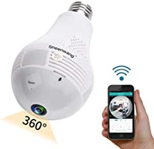 Sheenwang Security Light Bulb Camera, WiFi Indoor Security Camera Light Bulb, Wireless Home Security Camera with APP Control for Android and iOS (iCSee)
