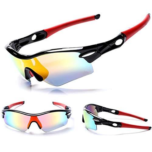 NSGJUYT 5 La Lente polarizada Gafas de Sol de Ciclo al Aire Libre Deportes de Bicicletas Gafas de Sol de la Bici MTB for Hombres Mujeres Gafas Gafas (Color : Black)
