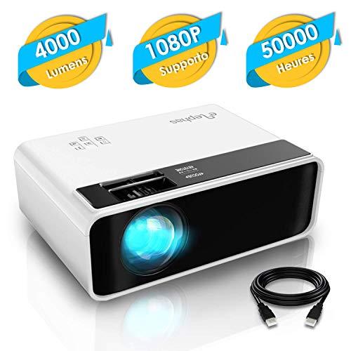 Mini Projecteur, ELEPHAS LED Videoprojecteur Portable Vidéo 1080P Supporté Rétroprojecteur HD Multimédia Cinéma Compatible...