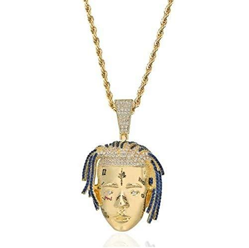 Alushisland Persönlichkeit Rapper Xxxtentacion Anhänger Halskette Männer Iced Out Cz Ketten Hip Hop/Punk Gold Farbe Charms Geschenke