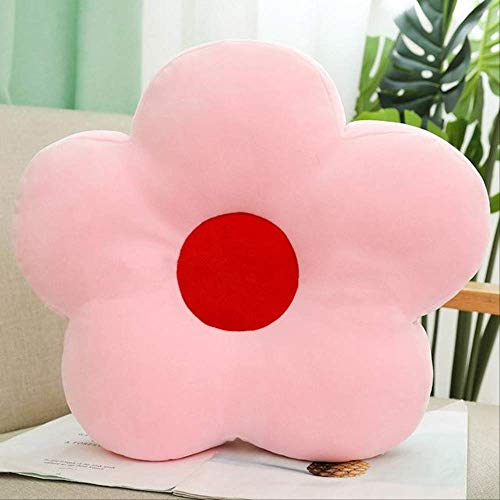 Lovely 40cm Fresh Colorful Flower Plush Pillow Toy Soft Cartoon Plant Stuffed Doll Chair Cushion Sofa Kids Lovers Birthday Gifts 40cm Pink
