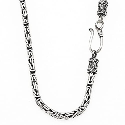 BFGJ Collar De Cadena Bizantina De Eslabones Cuadrados De Plata De Ley 925, Joyería Fina para Hombres Y Mujeres, Regalos, 45cm-28g